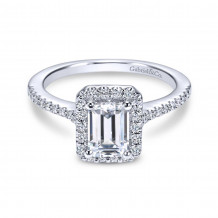 Gabriel & Co. 14k White Gold Contemporary Halo Diamond Engagement Ring