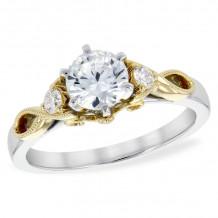 Allison Kaufman Two Tone 14k Gold Diamond 3 Stone Semi-Mount Engagement Ring