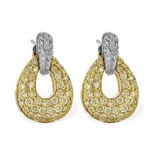 Allison Kaufman Two Tone 14k Gold Diamond Drop Earrings