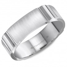 CrownRing 14k White Gold  Carved 6mm Wedding Band - WB-8055