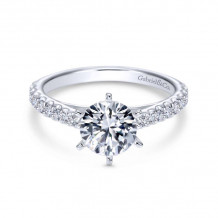 Gabriel & Co. 14k White Gold Contemporary Straight Diamond Engagement Ring - ER6692W44JJ