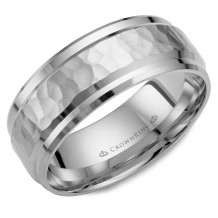 CrownRing 14k White Gold Carved 8mm Wedding Band - WB-9550