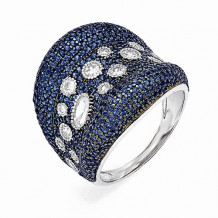 Quality Gold Sterling Silver White & Blue CZ Brilliant Embers Ring