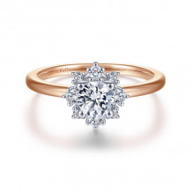 Gabriel & Co. 14k Two Tone Gold Starlight Halo Diamond Engagement Ring - ER14661R2T44JJ