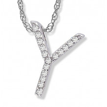 Lau International 14k White Gold Diamond Initial Y Pendant