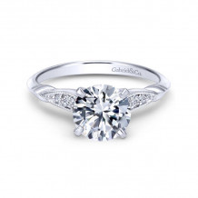 Gabriel & Co. 14k White Gold Victorian Straight Diamond Engagement Ring - ER11826R4W44JJ