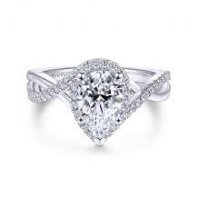 Gabriel & Co. 14k White Gold Contemporary Twisted Diamond Engagement Ring - ER7804P4W44JJ