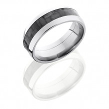 Lashbrook Titanium with 4mm Carbon Fiber Inlay Domed Wedding Band
