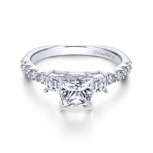 Gabriel & Co. 14k White Gold Contemporary 3 Stone Diamond Engagement Ring - ER4020W44JJ
