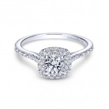 Gabriel & Co. 14k White Gold Victorian Halo Diamond Engagement Ring - ER8635W44JJ
