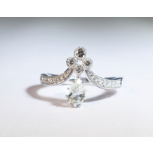 Pear Shaped Green Amethyst Ring