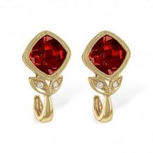 Allison Kaufman 14k Yellow Gold Gemstone & Diamond Stud Earrings