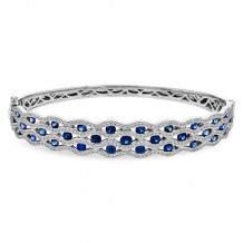 Allison Kaufman 14k White Gold Gemstone, Diamond Bangle Bracelet