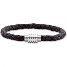 """Stainless Steel & Dark Brown Braided Leather 9"""" Bracelet with Magnetic Clasp"""