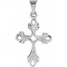 Sterling Silver 24.5x17 mm Design Cross Pendant