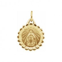 14K Yellow 12 mm Miraculous Medal