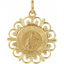 14K Yellow 18 mm Our Lady of Mount Carmel Medal
