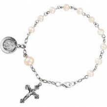 """Sterling Silver Freshwater Cultured Pearl First Holy Communion Rosary 6 1/2"""" Bracelet"""