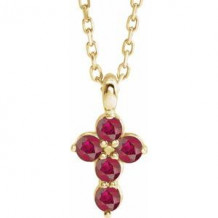 """14K Yellow Ruby Cross 16-18"""" Necklace"""