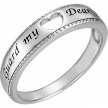 Sterling Silver Guard My Heart Ring Size 7