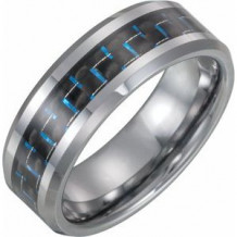 Tungsten 8 mm Band with Black Carbon Fiber Inlay Size 7