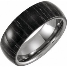 Tungsten 8 mm Domed Band with Zebra Wood Inlay Size 7