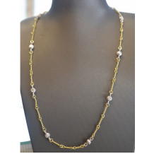 Two Tone Necklace with Diamond Accents