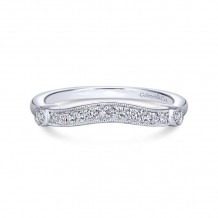 Gabriel & Co. 14k White Gold Victorian Curved Wedding Band