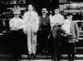 Our great-grandfather, Sam, pictured at our family's first Portland jewelry store in 1897. He's the dapper guy in the center.