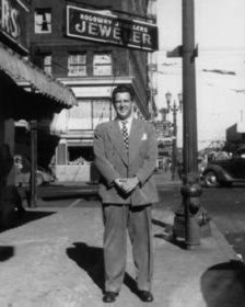 This is our father, Stan, standing in front of the family's next jewelry store at Third and Alder downtown.